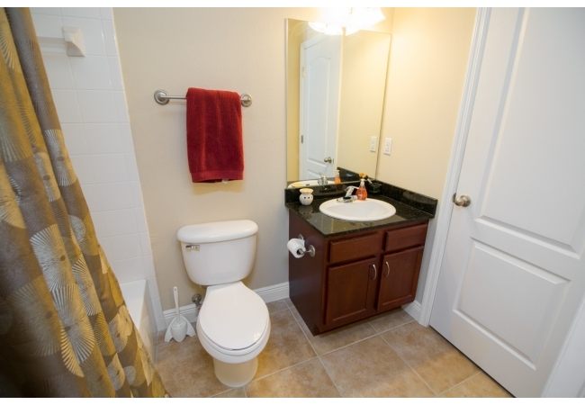 Both bedrooms upstairs have their own bathrooms.