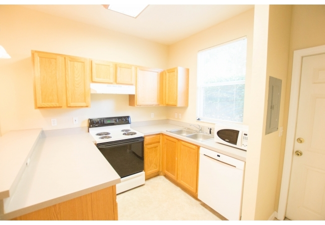 Kitchens are fully equipped with dishwashers and plenty of counter space for cooking.
