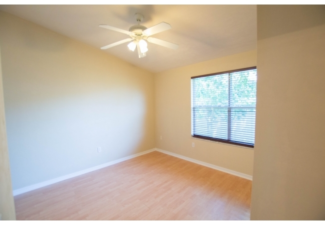 The upstairs bedrooms have vaulted ceilings that contribute to an open feel.