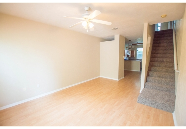 The community is comprised of 2 bedroom/2 bathroom townhomes with a half bathroom downstairs.