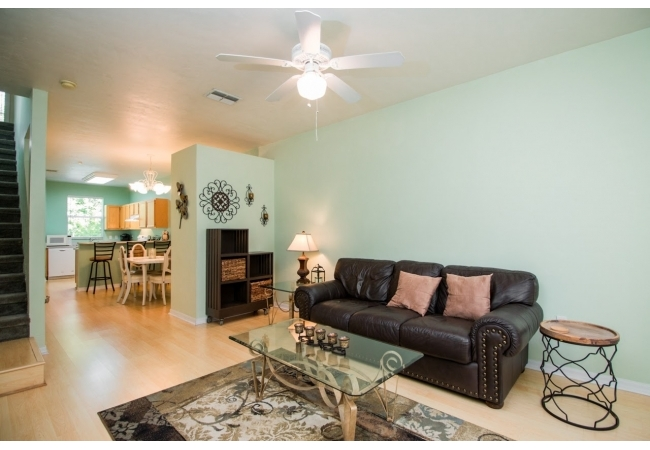Condominiums are 2 bedroom/2 bathroom townhomes with a half bathroom downstairs.