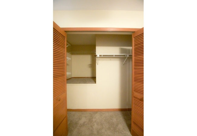 The upstairs closet offers extra storage.