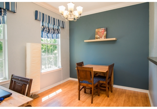 Here's the view of the dining area adjacent to the kitchen in the 2BR floor plan.