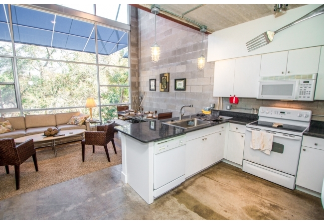 Floors are polished concrete however some owners choose to install tile or apply garage-floor paint.