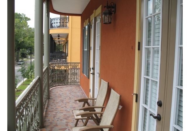 New Orleans-style balconies overlook the surrounding area.