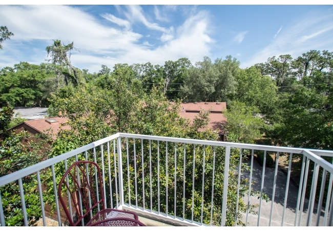 Balconies have nice views of campus and the surrounding historic neighborhood.