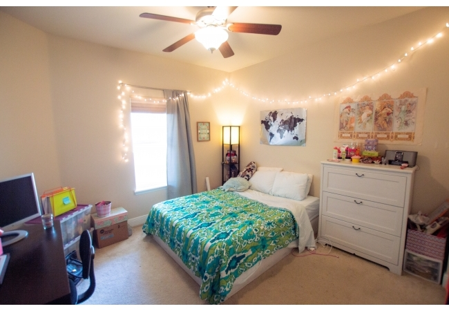 The downstairs bedroom has plenty of room for furniture.