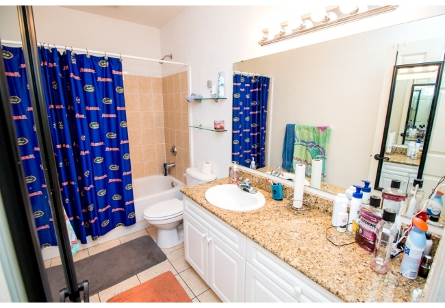 The upstairs master suite bath has room to spare!