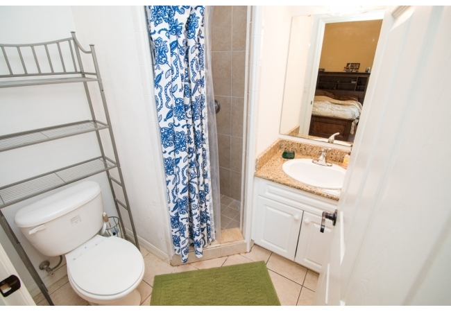 Some baths have a walk-in shower while others have shower and tub combinations.