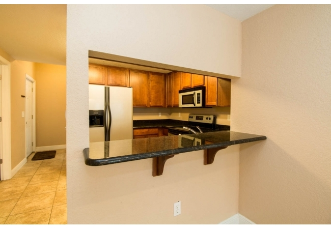 All condos have an elevated breakfast bar.