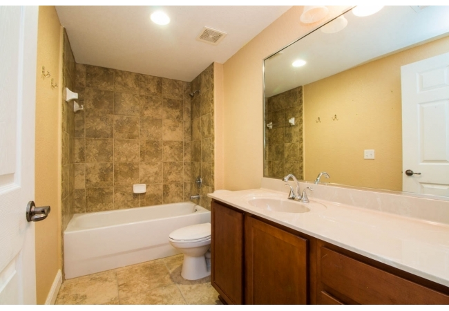 The bathrooms are stylish and spacious.