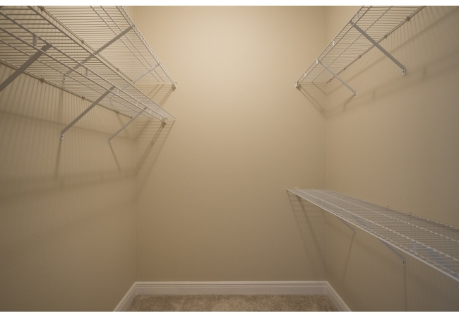 Bedrooms in the condos have ample closet space.