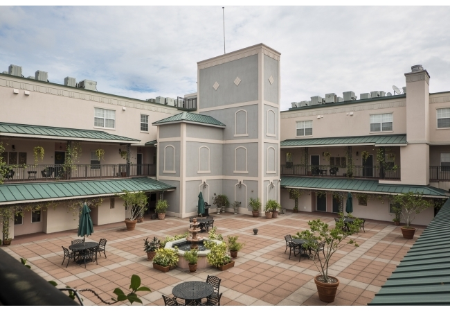 Condos features access to a spacious Mediterranean-style courtyard.