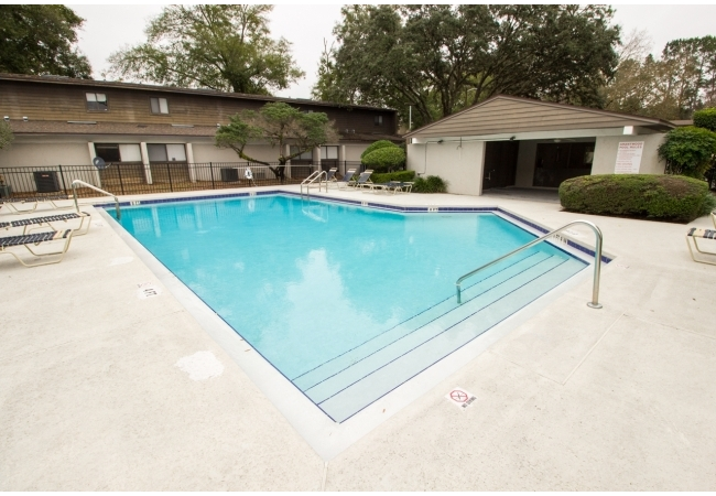 The community has a sparkling pool with cabana as well as racquetball courts.