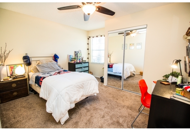 Bedrooms are spacious and each has a nook area by the window for a desk.