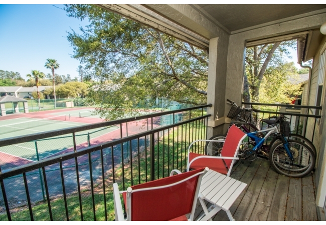 Second floor condos have private covered balconies. Porches are also covered on the first floor.