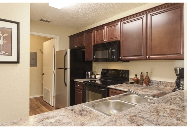 The 3 bedroom condo has a slightly different kitchen. Both the 2 bedroom and 3 bedroom kitchens feature a pantry.