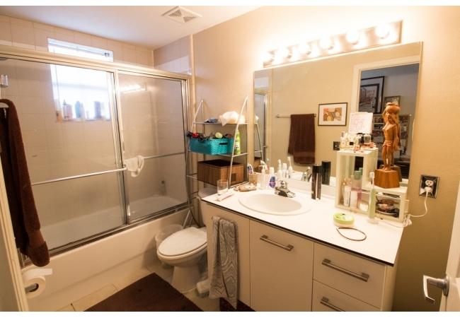 Bathrooms have plenty of storage options...
